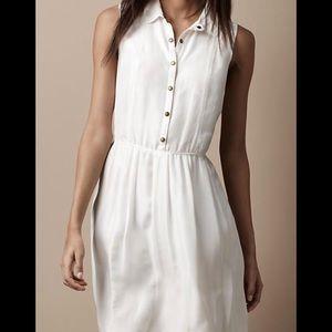 Burberry Brit Cream Silk Shirt Dress. Size 2.